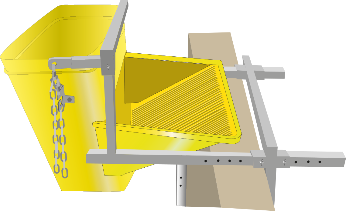 Eine Befestigungsklammer für einen Schmutzbehälter