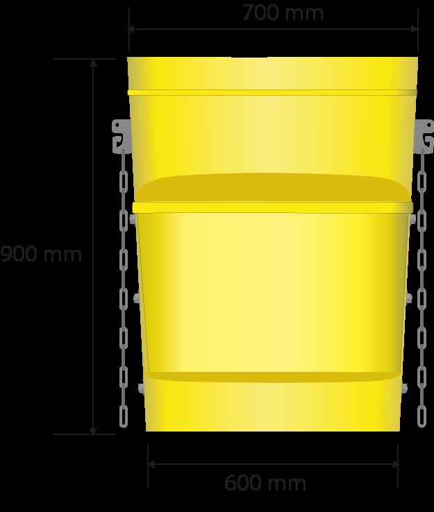 Gesamtabmessungen in Millimetern: 700 x 410, 900 Höhe