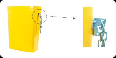 Abmessungen der Kettenverankerung: 55 x 85 mm