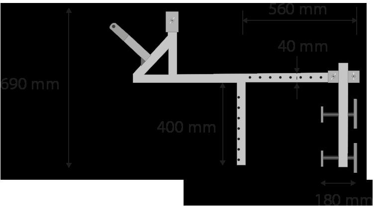 Breite: 650mm, Länge: 1100mm, Höhe: 690mm