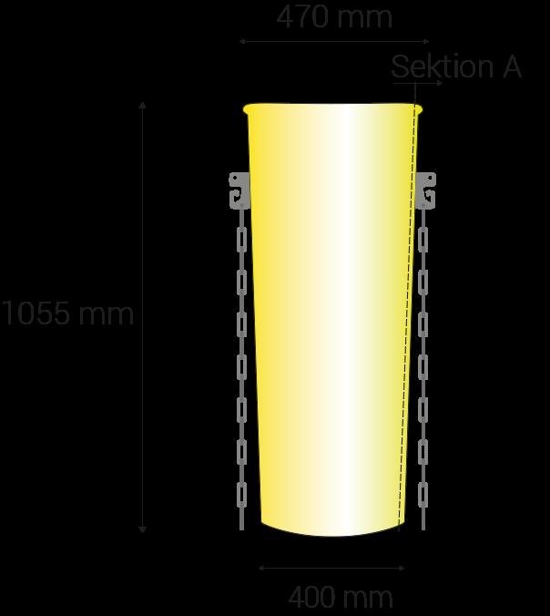 Länge 1055mm; oberer Dürchmesser 470mm, unterer 400mm