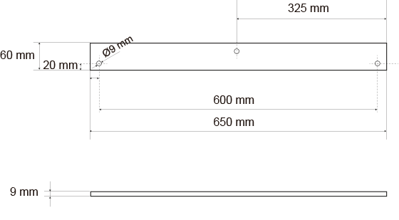 Measurements of the balance beam column hook for the installation of a debris evacuation system.