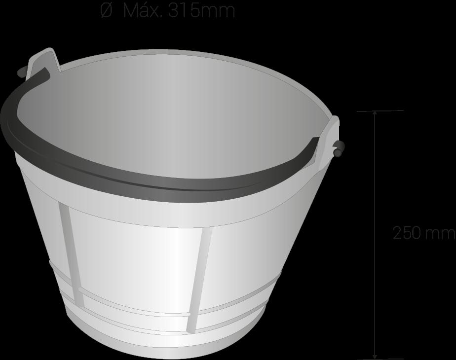 Height 250 milimeters, maximun diameter 315 milimeters