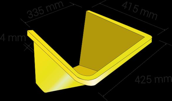 Width 425mm, lenght 415mm, thickness 4mm; hopper width 335mm