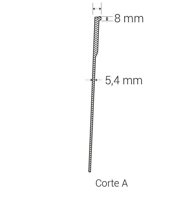 Upper thickness: 8 mm
