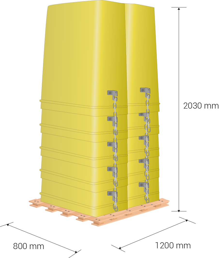 Pallet dimensions: 80 x 120 cm, 203 cm height