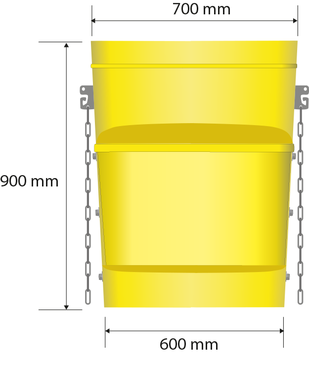 Total dimensions: 700 x 410 mm, 900 mm height