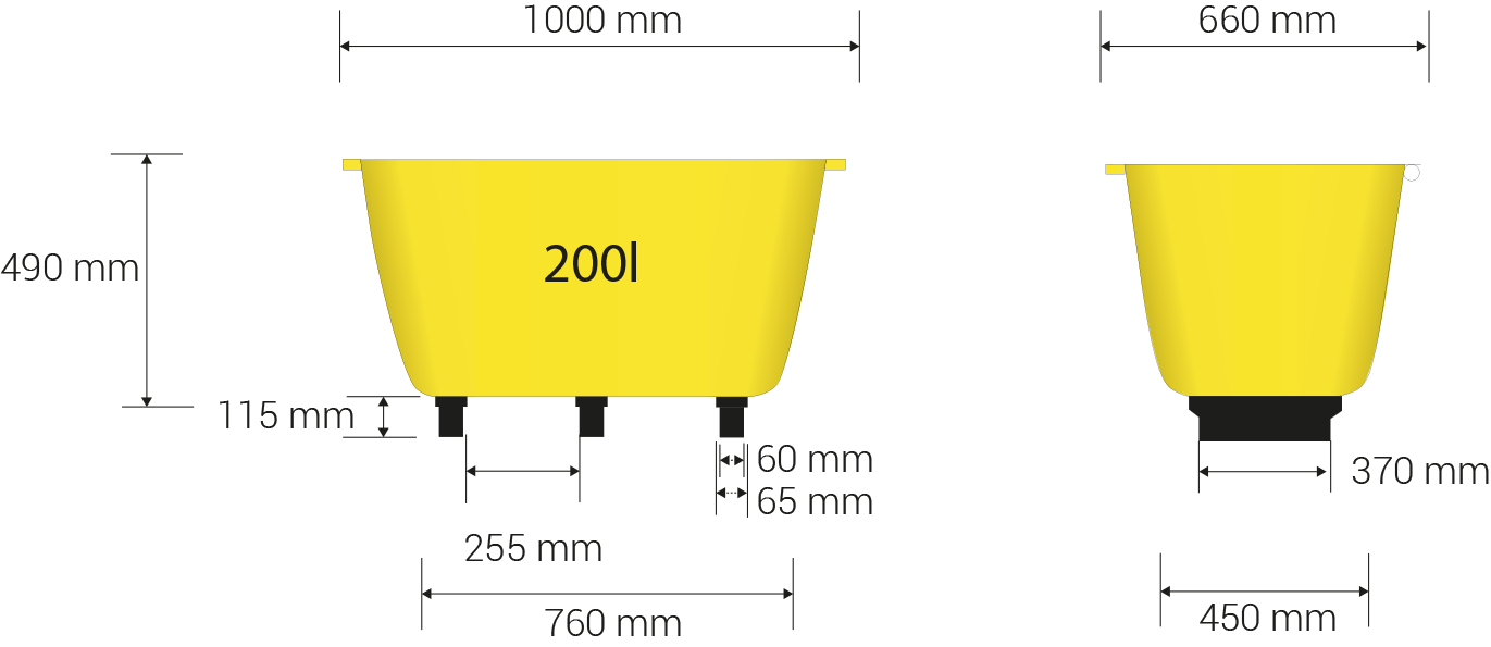 Base dimensions in milimeters: 760 x 450
