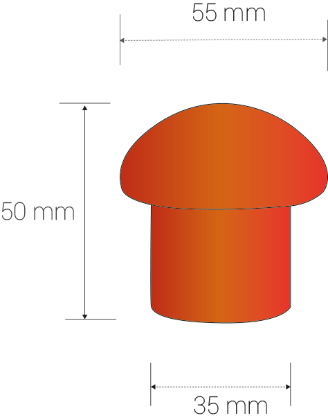 Dimensions in milimeters: diameter. head: 55, diam. body: 35, height: 55.