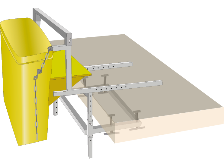 A fixing bracket for debris chutes