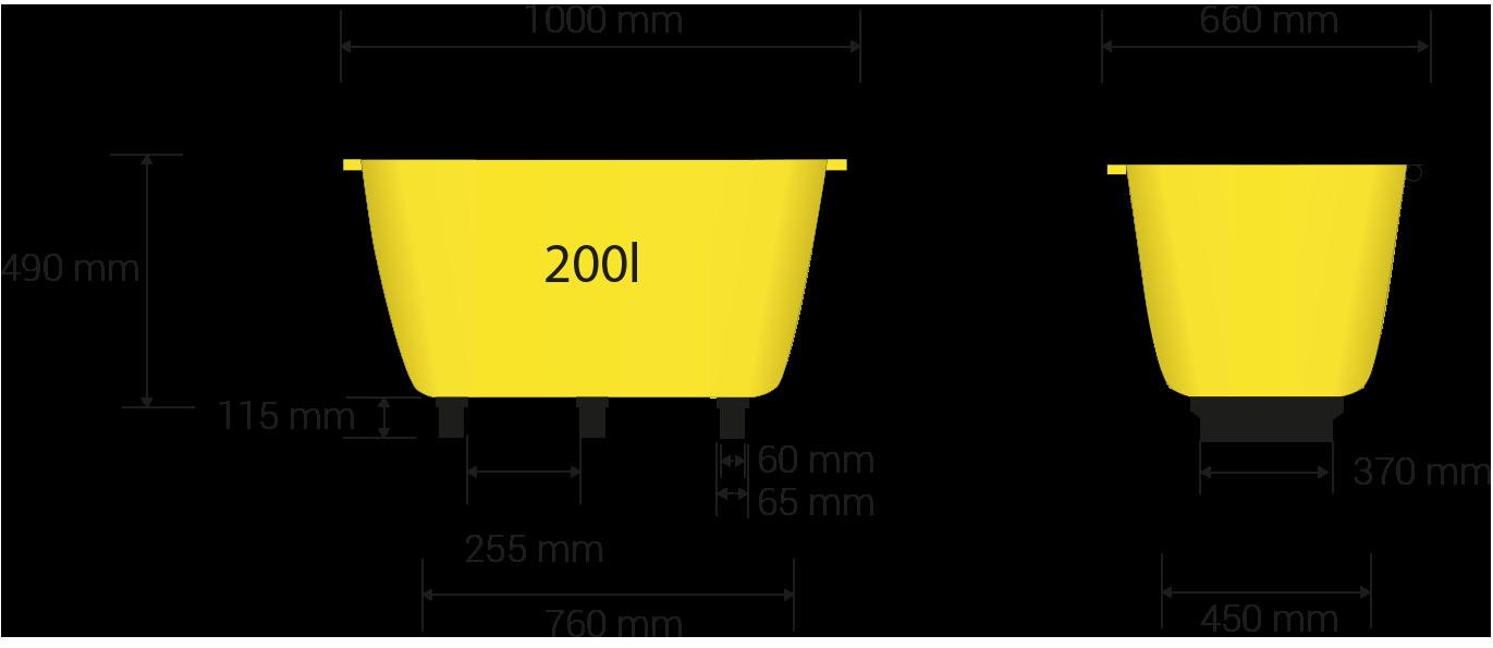 Dimensions des pattes en millimètres: 370 x 65, 115 hauteur; 255 millimètres entre les pattes