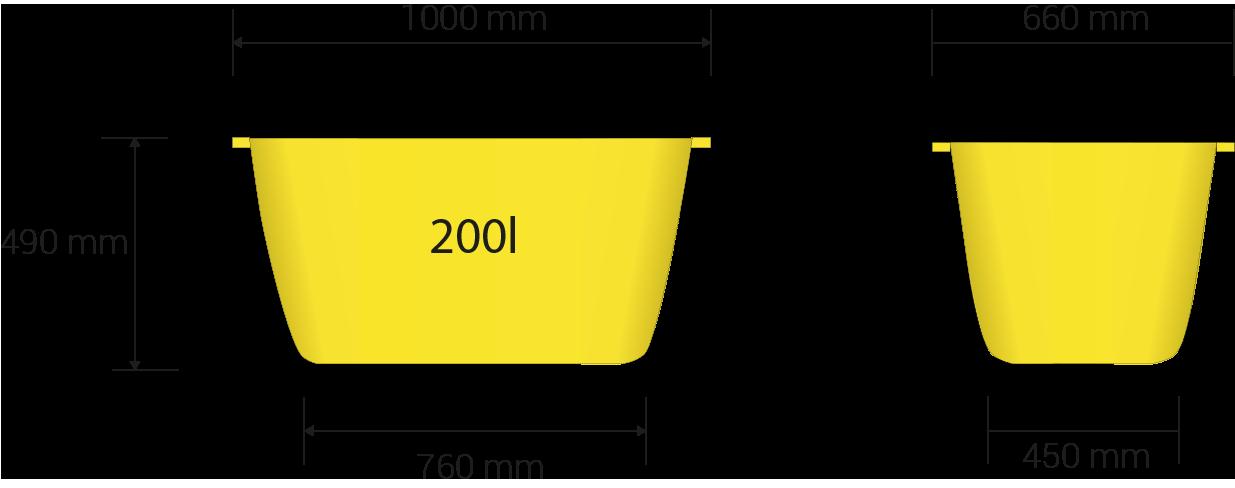 Dimensions totale en millimètres: 1000 x 660 x 490 hauteur, dimensions de la base en millimètres: 760 x 450