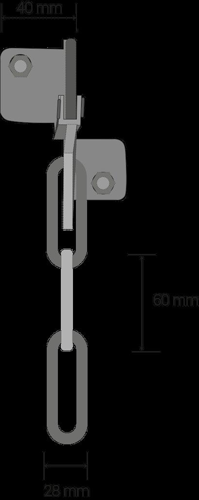 Maillon de châine: 60 millimètres x 28 millimètres, épassieur 7 millimètres