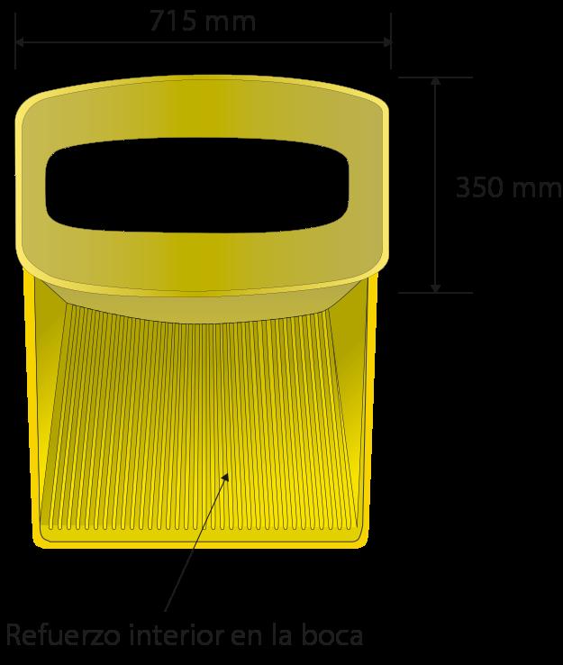 Dimensions de la trémie: 690 x 610 mm, apertura 720 mm