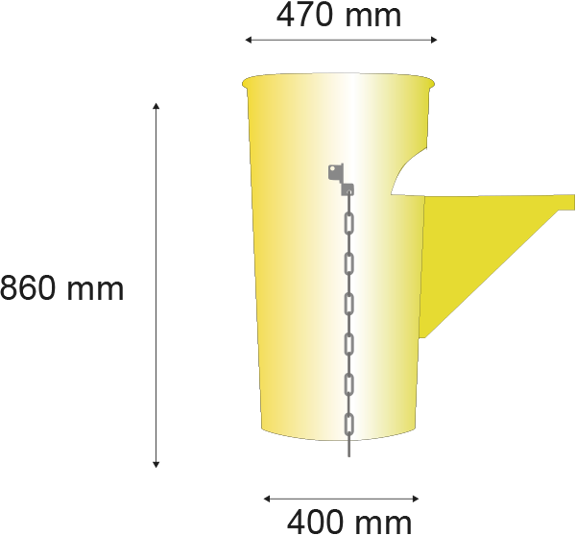 Longuer de 860 millimètres; Diamétres superieur de 475 millimètres, Diamétres inferieur de 373 millimètres