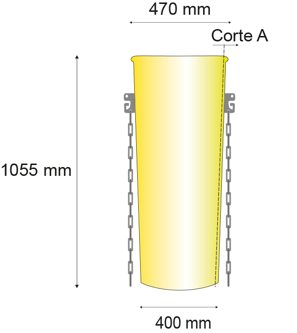 Longuer de 1055 millimètres; Diamétres superieur de 470 millimètres, Diamétres inferieur de 400 millimètres