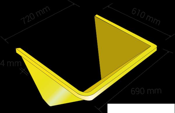 Longuer de 425 millimètres, profondeur 415 millimètres, epassieur 4 millimètres; ouvertur de la tréme 335 millimètres