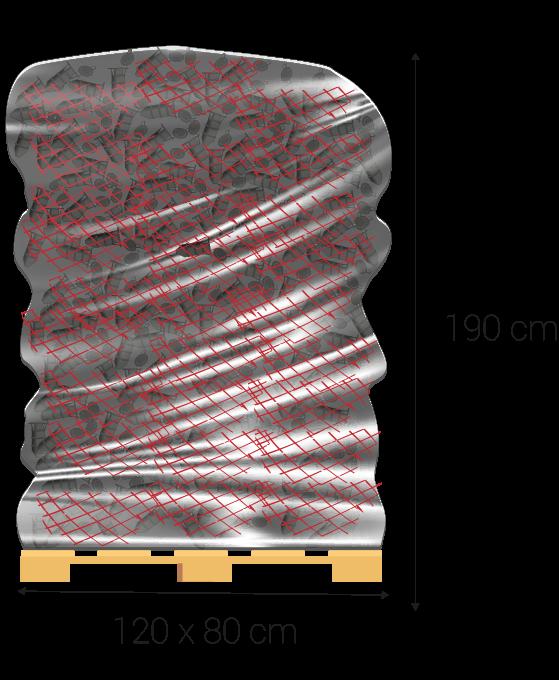 Dimensions du pallet en centimètres: 120 x 80, 190 hauteur