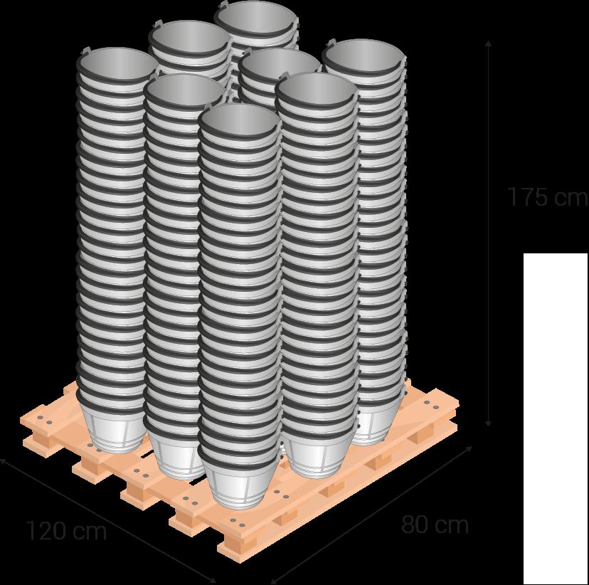 Palette de 80x120 centimètres, 175 centimètres hauteur