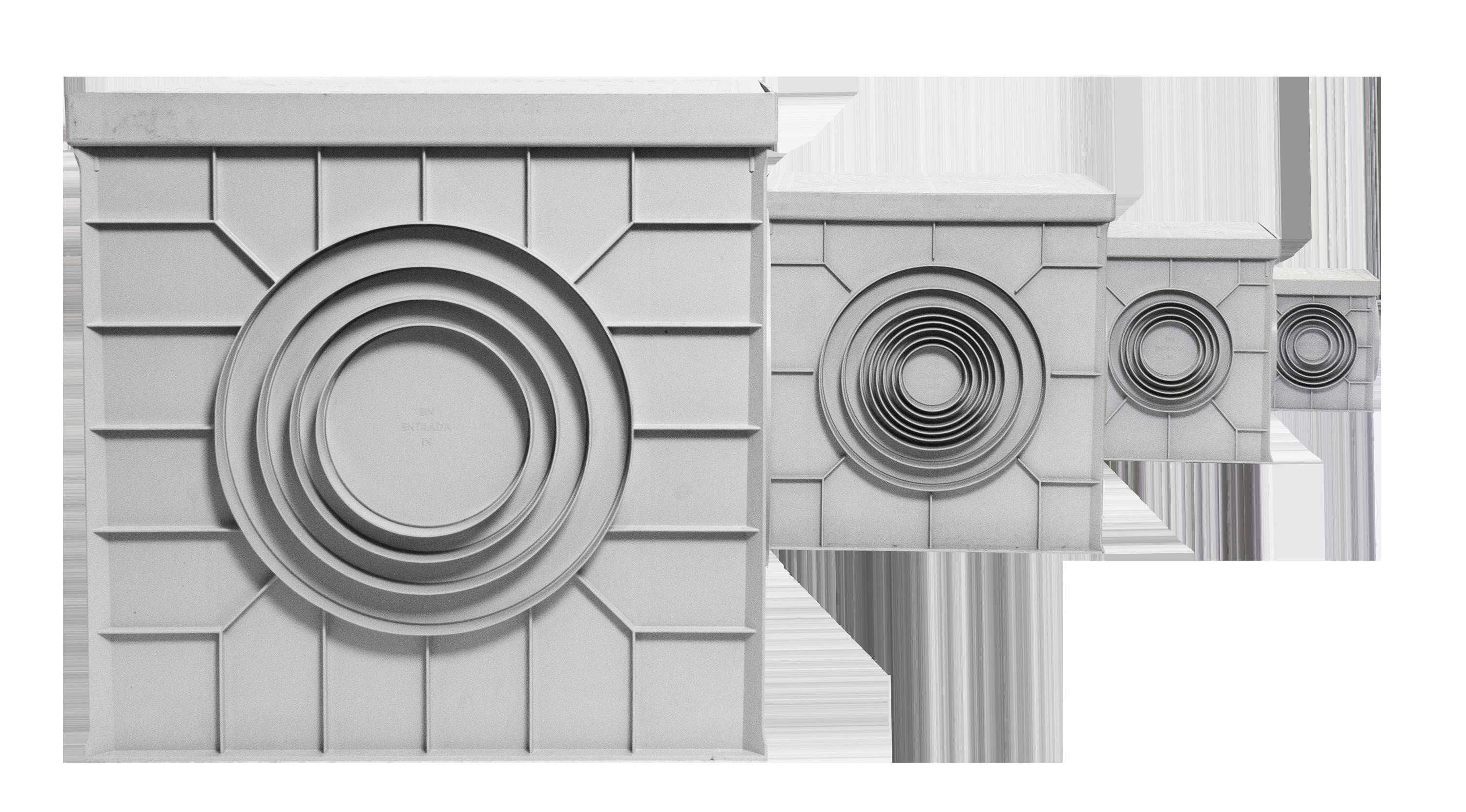 Arquetas ITM Construcción disponibles en colores gris o negro.