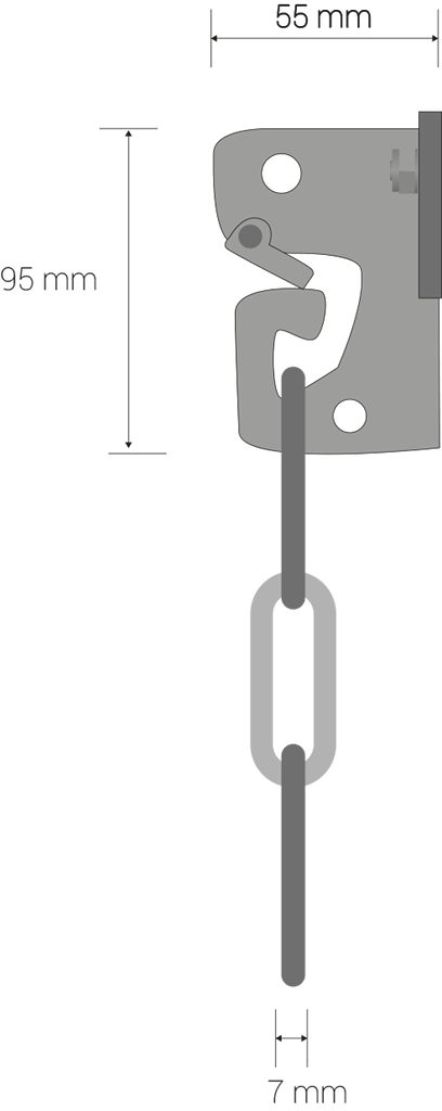 Oreja de sujeción: 55mm x 85mm