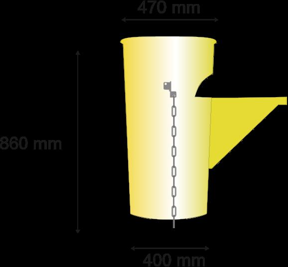 Longitud 860mm; diámetro superior 475mm, inferior 373mm