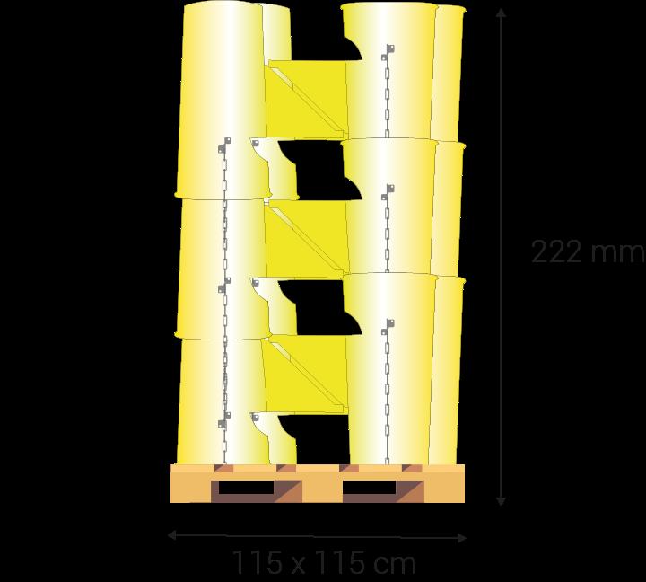 Palet cuadrado de 115 cm x 222 cm de altura