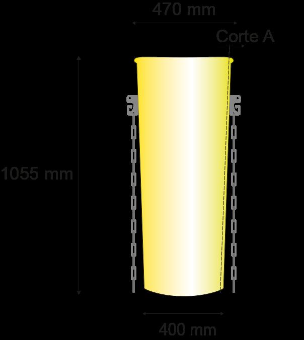 Longitud 1055mm; diámetro superior 470mm, inferior 400mm