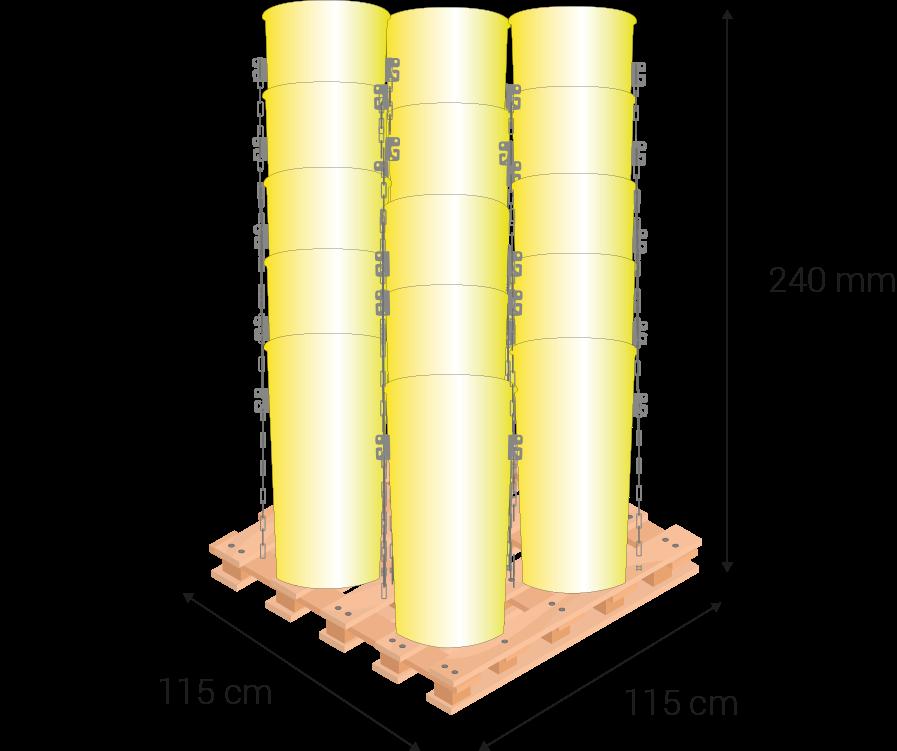 Palet cuadrado de 115 cm x 240 cm de altura