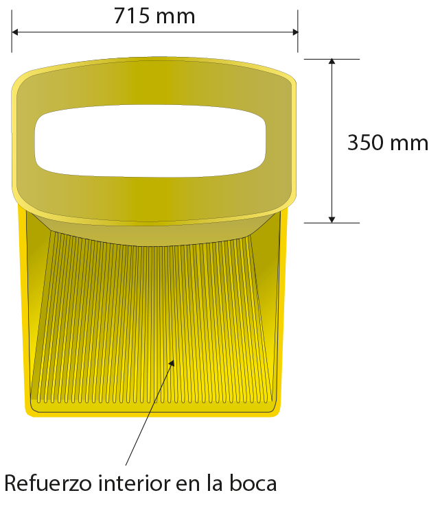 Dimensiones de la boca: 690 x 610 mm, apertura 720 mm
