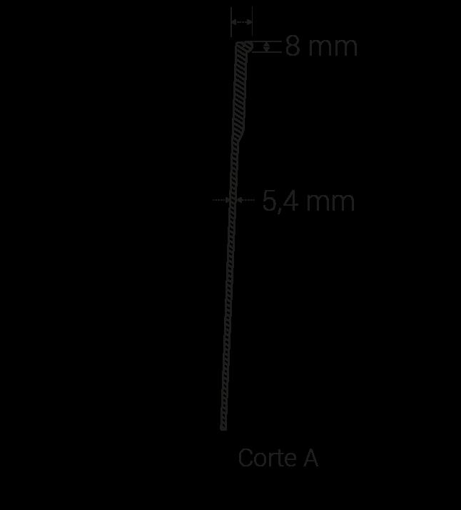Espesor borde superior: 8 mm