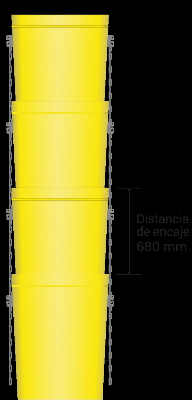 Distancia de encaje 680 mm