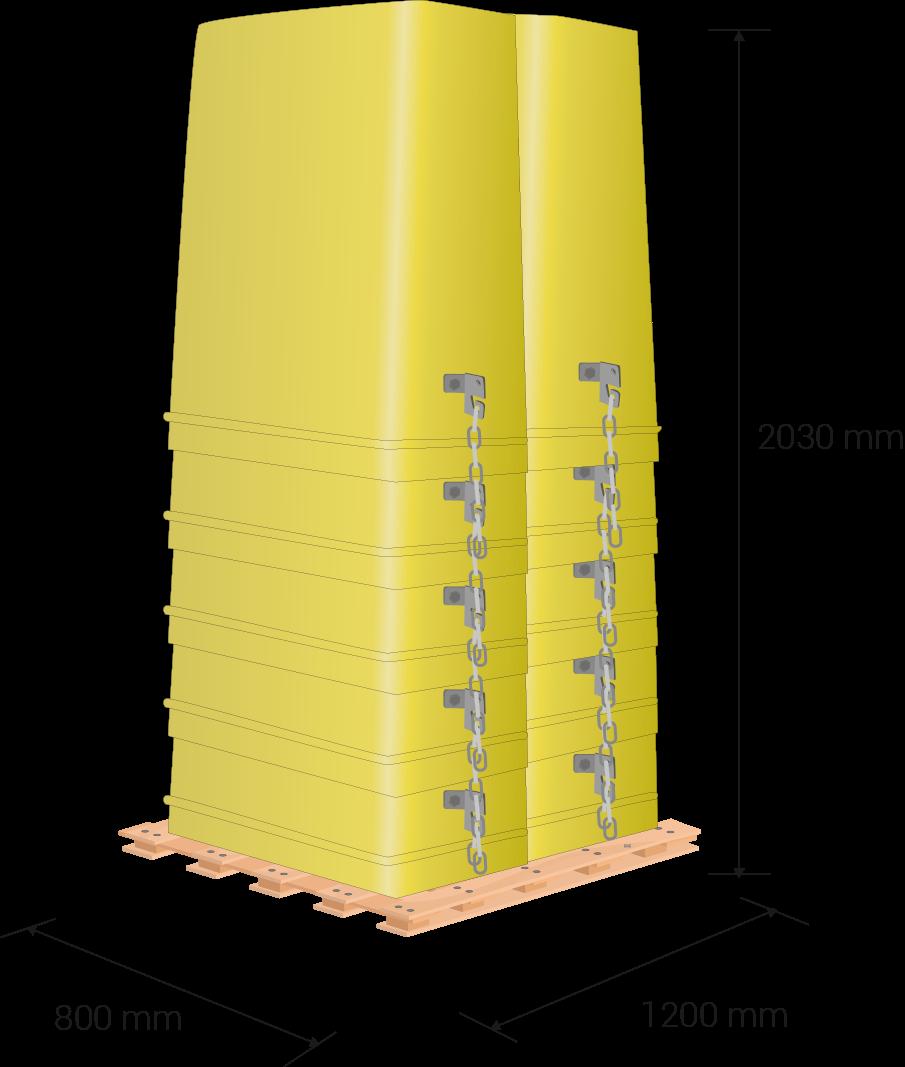 Palet de 80 x 120 cm, 203 cm de altura