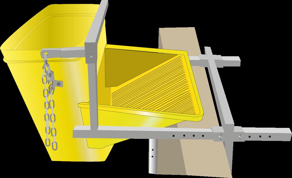 Un soporte de fijación para una tolva de escombros