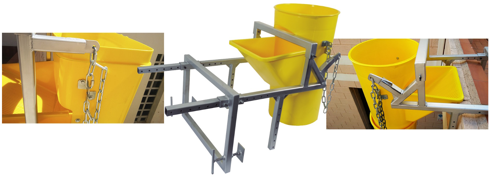 Soportes de fijación para montar una columna de bajantes de escombros en una obra