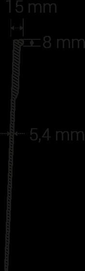 Grosor general 5,4mm; grosor superior 15x8mm