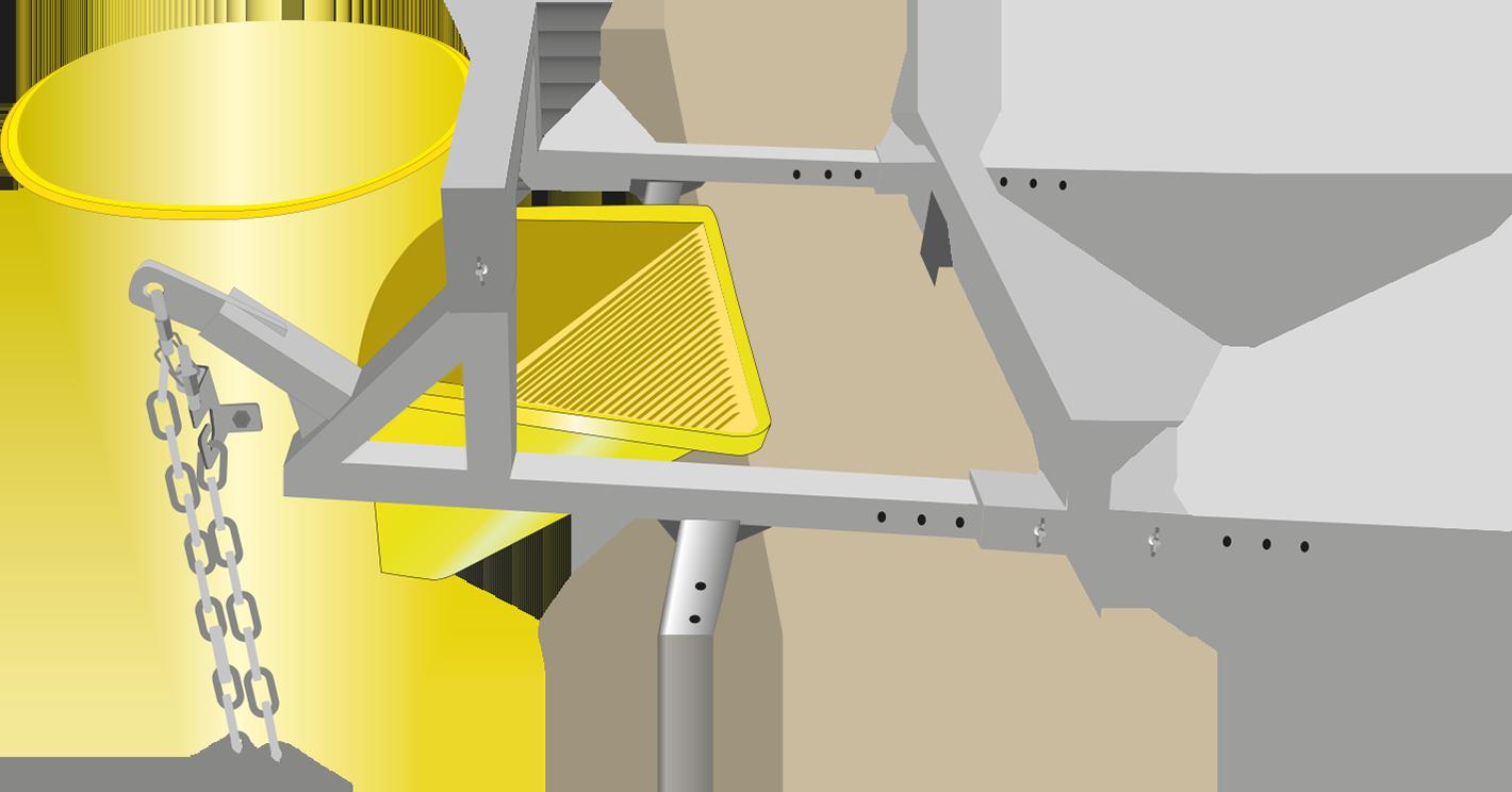 Un soporte de fijación para resbaladera de escombros