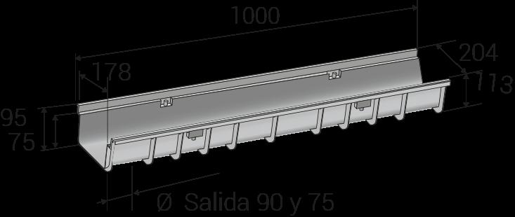 Diámetro de salida de 75 y 90 mm