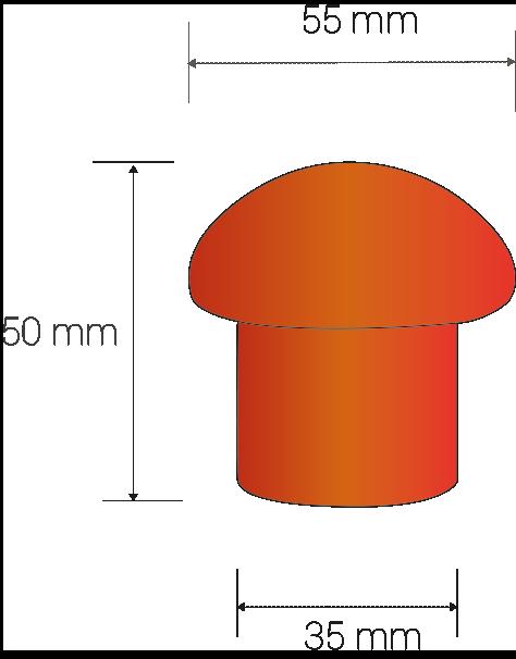 Dimensiones en mm: diam. copa: 55, diam. tubo: 35, altura: 55.