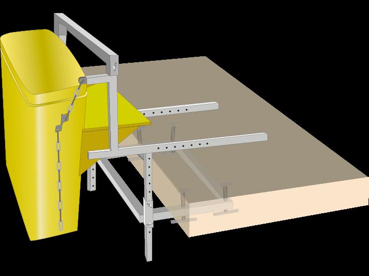 Un soporte de fijación para tubos de desescombro