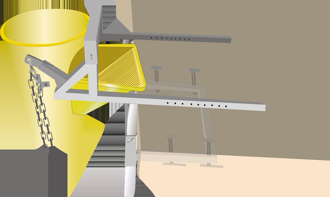 Un soporte de fijación para tobogán de escombros