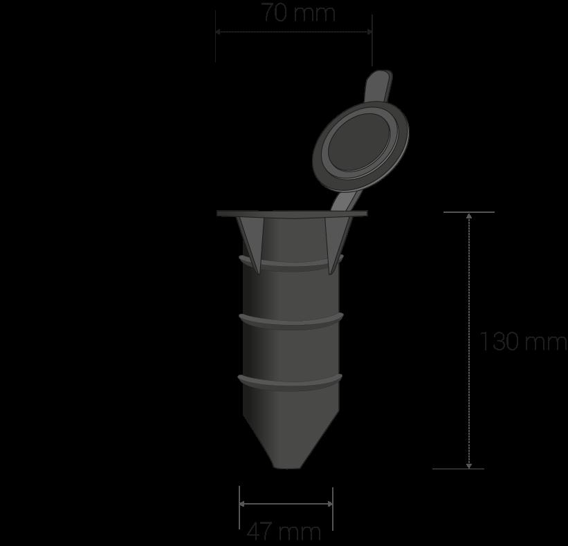 Dimensiones en mm: diam. boca: 70, diam. tubo: 47, altura: 130.